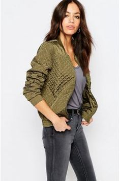 J.D.Y Quilted Bomber Jacket - Green