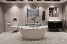 Megaflis Boligmesse 2015 Modern bathroom, freestanding bathtub, Cemento Cassero tile, shower