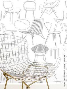 Tapete Design Stühle