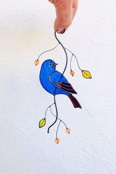 Blue bird stained glass bird suncatcher home decor stained glass window hangings Mosaic Art Projects, Stained Glass Projects, Craft Projects, Craft Ideas, Window Hanging, Glass Birds, Stained Glass Windows, Suncatchers, Blue Bird