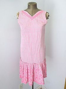 Vtg-60s-Mod-Pink-Gingham-Check-Jumper-Dress-Drop-Waist-Embroidered-Flowers-M