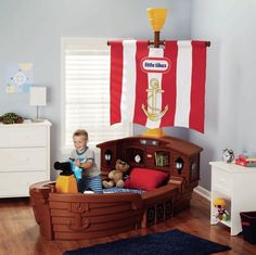 Boys Pirate Ship Toddler Bed Boat Shaped Bed w/ Nightlight & Toy Box MADE IN USA