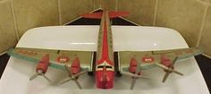 Vintage 1950's Marx Tin Litho Friction Toy Airplane Skycruiser Stratoliner 700