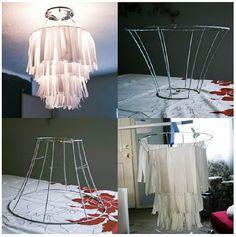 DIY Paper Chandelier ( using lampshade )  explication dans commentaires du pinterest  d'origine