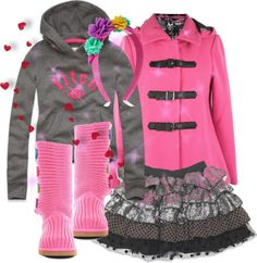 """""""pink and grey outfit for little girls"""" by thepocketmama on Polyvore"""
