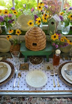 The Bees Knees Table Vignette in Potting Shed | homeiswheretheboatis.net