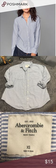 Abercrombie Oxford buttoned day shirt WORN ONCE!! A preppy-casual staple with button-up front, logo-accented buttons, rolled sleeves, curved hem, comfy fit. 100% Cotton.                                                      Please note, the top pictured in the cover pic shows a tiny Abercrombie moose by the left pocket. This shirt does not have that moose on it. Abercrombie & Fitch Tops Button Down Shirts