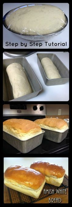 Amish White Bread Step by Step photo tutorial 6 simple ingredient and you have your own homemade bread! White Bread Recipes, Homemade White Bread, Homemade Breads, Homemade Sandwich Bread, Amish Sweet Bread Recipe, Amish Food Recipes, Simple Bread Recipe, Simple White Bread Machine Recipe, Homemade Pastries