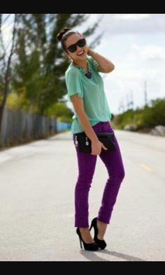 401228c3ce Cr to owner  MintGreenBlouse  PurplePants  BlackClutch  BlackShoes Purple  Pants Outfit