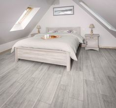Opt for parquet effect tiles! Practical and aesthetic, it possesses . Scandinavian Bedroom, Tile Floor, Tiles, Sweet Home, Flooring, House, Furniture, Home Decor, Roof Top