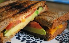 Tomato and Avocado Grilled Cheese: 1 teaspoon extra virgin olive oil, 2 slices whole wheat bread, 2 slices sharp cheddar cheese, 1/2 an avocado sliced 1/2 a tomato sliced. Heat skillet, brush bread with olive oil, assemble sandwich, grill!