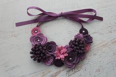 Wool Felt Flower Bib Necklace  Shades of por SnuggleBugsBowtique, $29.99