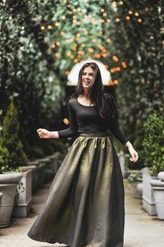 Golden Brocade Floor Length Maxi Skirt