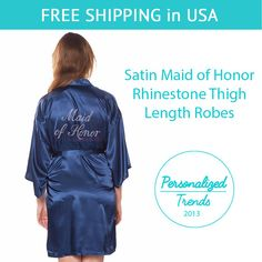 Navy Blue Satin Maid of Honor Thigh Length by PersonalizedTrends