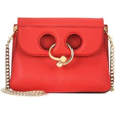JW Anderson Mini Pierce Leather Shoulder Bag ($1,320) ❤ liked on Polyvore featuring bags, handbags, shoulder bags, red, leather shoulder bag, red handbags, mini handbags, red shoulder bag and shoulder bag purse