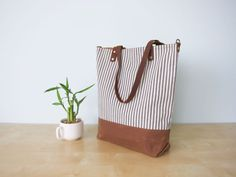 Summer Tote Bag No.1 Japanese Ticking Fabric with by buluchu, $82.00