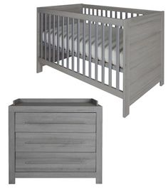 Europe Baby Vicenza Grey Cot bed & Chest:  Elegance meets minimalism. This beautiful cot bed converts from cot to starter bed or sofa.