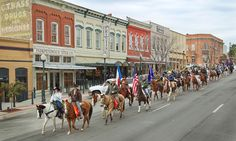 Trail Riders in downtown San Marcos, TX