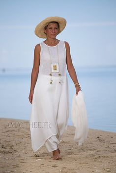Linen summer outfit for women :natural white linen tunic with sarouel skirt -:- AMALTHEE -:- n° 3418