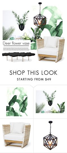 """""""Deer flower vase..."""" by gloriettequartet ❤ liked on Polyvore featuring interior, interiors, interior design, home, home decor, interior decorating, WALL and Christopher Guy"""