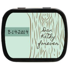 Green Tree Etching Personalized Wedding Mint Tins #outdoorwedding #greenwedding #weddingfavors