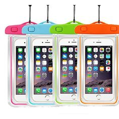 4Ppack Waterproof Case Universal CellPhone Dry Bag Pouch CaseHQ for Apple iPhone 6S 6 6S Plus SE 5S Samsung Galaxy S7 S6 Note5 HTC LG Sony Nokia Motorola up to 57 diagonal >>> Read more reviews of the product by visiting the link on the image.