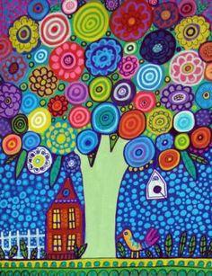 Landscape Art  TREE ART PRINT  Flower Tree by HeatherGallerArt