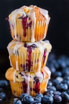 These lemon blueberry muffins are bursting with fresh blueberry flavor. This blueberry muffin recipe has a soft and moist crumb and they puff up perfectly. The easy lemon glaze recipe makes them completely irresistible and they always disappear fast!   natashaskitchen.com