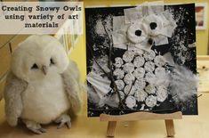 Creating snowy owls using variety of art materials Preschool Literacy, Preschool Art, Art Activities For Kids, Halloween Activities, Owl Crafts, Arts And Crafts Projects, November Preschool Themes, Artic Animals, Snowy Owl