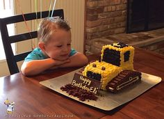 I made this bulldozer cake for my son's birthday! Bulldozer Cake, Tractor Birthday Cakes, Truck Birthday Cakes, Digger Birthday Cake, Construction Party Cakes, Construction Birthday Parties, 3 Year Old Birthday Party Boy, 3rd Birthday, Toddler Girls