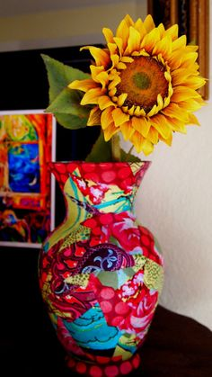 Amy Butler Fabric Covered Vase by LauraGrishamDesigns on Etsy, $25.00