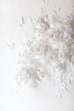 White Wedding Paper Flower Decor - White Paper Flowers This paper flower set of 24 Unique Large Paper Flowers + 15 paper leaves + 5 Paper Butterflies will cover around X space It includes: