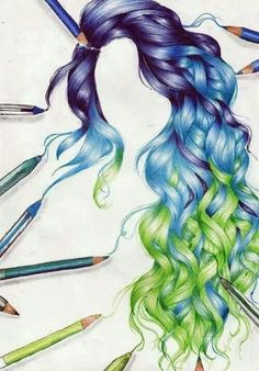 Wow what an amazing drawing  Hair green blue purple curls