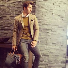 Men's Style: Jacket, Jeans, Sweater, Shirt.