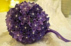 DIY Paper Flower Bouquet. I made it for my wedding. #wedding #bouquet #origami