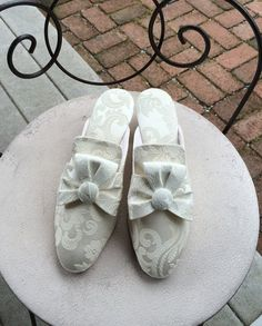 Princess Shoes Ivory Brocade Slippers Dressy by vintagemb60