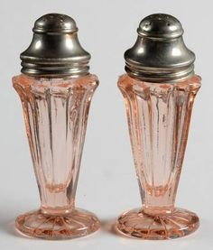 "Jeannette Glass ""Sierra"" Pattern Salt and Pepper Shakers in Pink (1931-1933) Depression Glass"