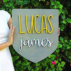 Badge Wood Sign Personalized Nursery Name Sign Baby Shower Gift Wall Art Personalized Sign Established Sign Wooden Signs Nursery Name, Nursery Signs, Nursery Room Decor, Wooden Letters, Wooden Signs, Cute Baby Names, Boy Names, Established Sign, Personalized Wall Art