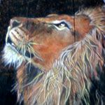 Feather Painting - Longing Lion