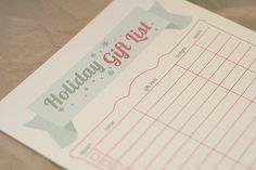 Holiday Gift List - Free Printable!