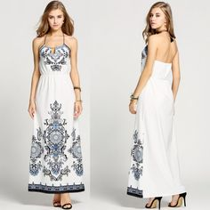 Product Description: Summer Women Halter Backless Casual Print Long Maxi Dress. Material: Polyester, Color: White, Design: Backless, Season: Summer, Autumn, Sleeve: Spaghetti Strap, Waistline: High Wa