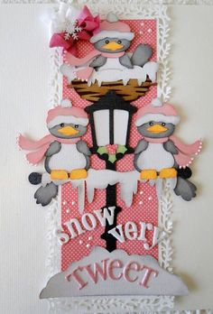 The snow birds are cute. Scrapbook Borders, Scrapbook Embellishments, Scrapbook Page Layouts, Scrapbook Stickers, Scrapbook Cards, Handmade Christmas, Christmas Items, Christmas Crafts, Paper Piecing