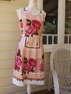 Gorgeous handcrafted upcycled, vintage fabric dress by Dear Hazel sz10