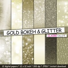"""Buy Gold digital paper: """"GOLD BOKEH & GLITTER"""" with gold glitter background and gold bokeh background for photographers and scrapbooking by clairetale. Explore more products on http://clairetale.etsy.com"""