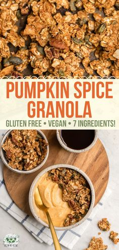 Pumpkin Spice Granola Crunchy Sweet and Perfectly Spiced this Pumpkin Spice Granola is a delicious Fall treat! Vegan Gluten-Free and made with only 7 ingredients. The post Pumpkin Spice Granola appeared first on Vegan. Vegan Snacks, Healthy Breakfast Recipes, Healthy Snacks, Vegetarian Recipes, Healthy Recipes, Snacks Recipes, Pumpkin Recipes, Fall Recipes, Whole Food Recipes