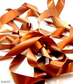 """Italian Satin (Double Face) - (1 1/2"""" W) The Finest, most Luxurious Double Face Satin in the World - Sheer Hollywood Glamour On Vintage Spools Poly in Copper - Made in USA"""