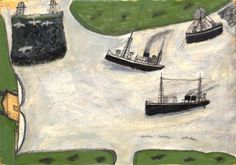 'Three Boats and a Lighthouse' (c.1930s) by British painter Alfred Wallis (1855-1942). Oil on card laid on board, 12 x 15 in. via Offer Waterman