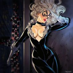 Super Heroines Pin-Up - Black Cat