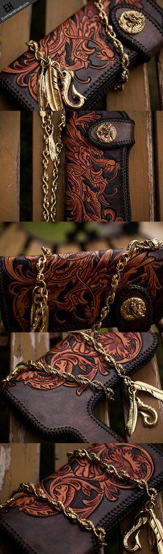 Handmade black brown leather floral Chinese dragon carved biker wallet   EverHandmade