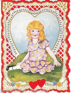 Vintage Valentine Card Girl Purple and Yellow Polka Dot Dress 1920s to 1930s | eBay